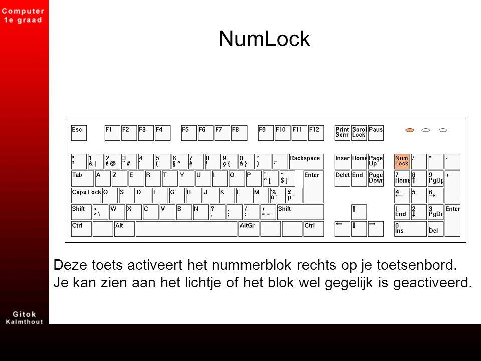 NumLock Deze toets activeert het nummerblok rechts op je toetsenbord. Je kan zien aan het lichtje of het blok wel gegelijk is geactiveerd.