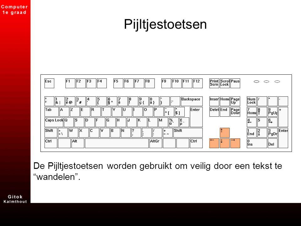 """Pijltjestoetsen De Pijltjestoetsen worden gebruikt om veilig door een tekst te """"wandelen""""."""