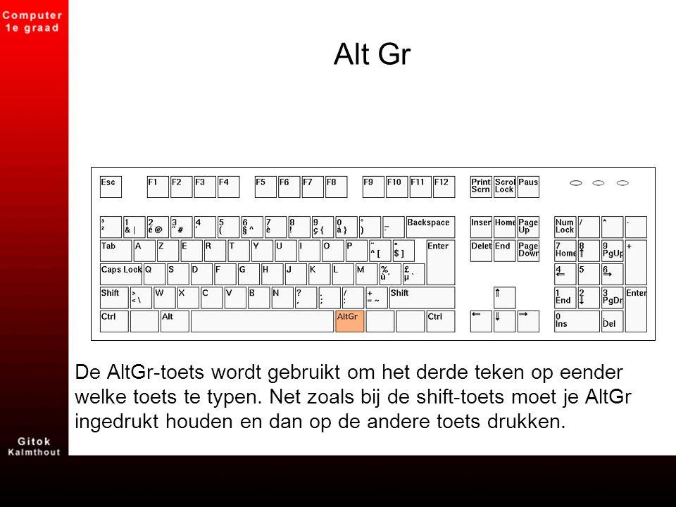 Alt Gr De AltGr-toets wordt gebruikt om het derde teken op eender welke toets te typen. Net zoals bij de shift-toets moet je AltGr ingedrukt houden en