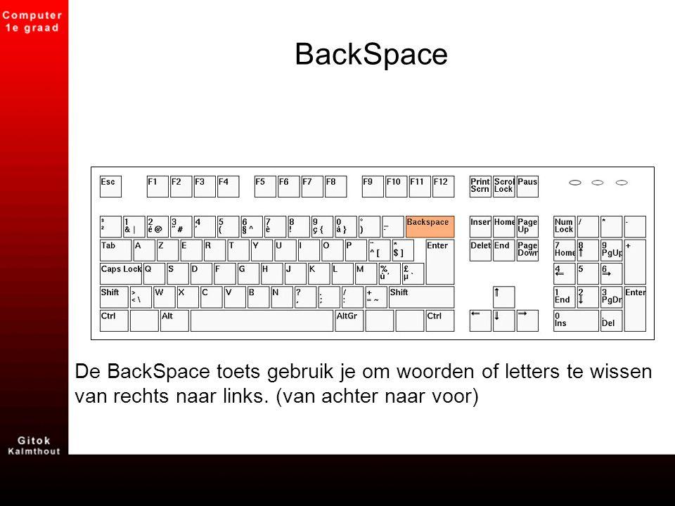 BackSpace De BackSpace toets gebruik je om woorden of letters te wissen van rechts naar links. (van achter naar voor)