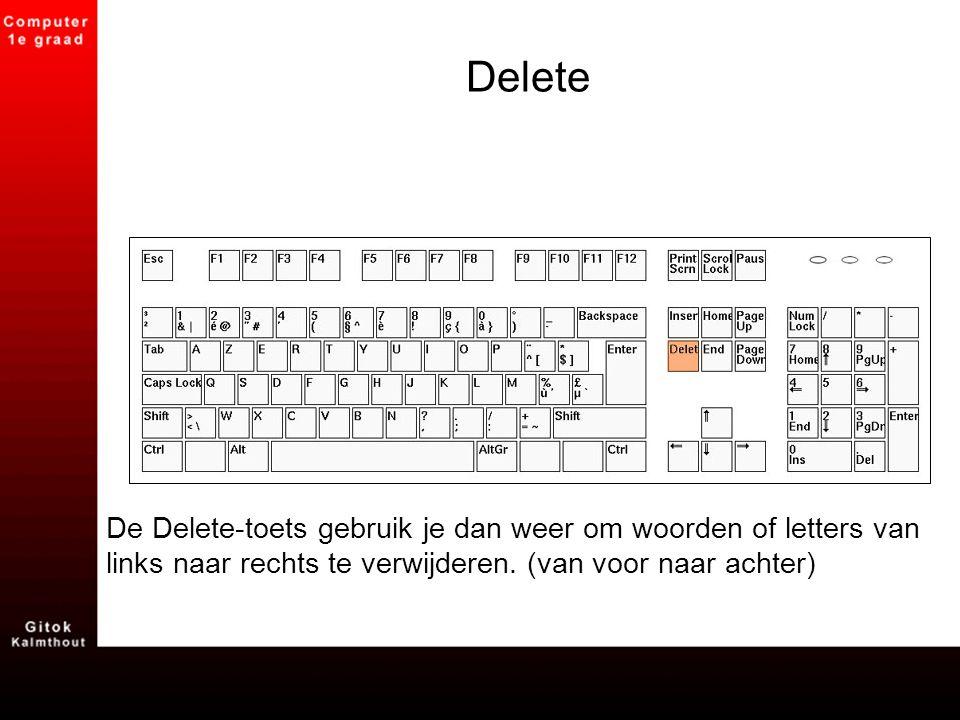 Delete De Delete-toets gebruik je dan weer om woorden of letters van links naar rechts te verwijderen. (van voor naar achter)