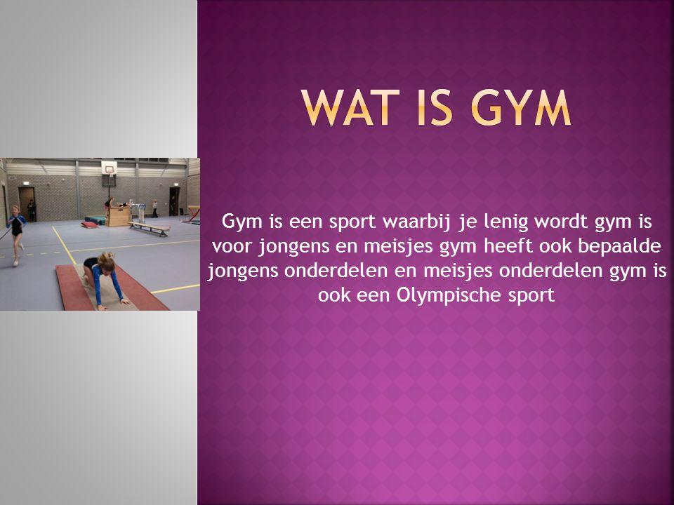 Gym is een sport waarbij je lenig wordt gym is voor jongens en meisjes gym heeft ook bepaalde jongens onderdelen en meisjes onderdelen gym is ook een