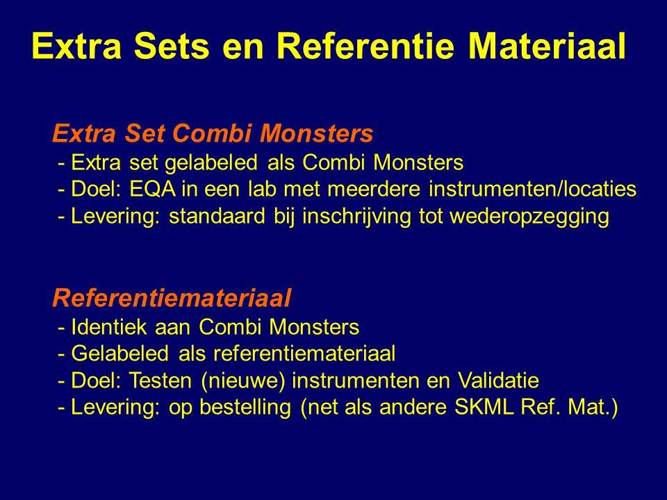 Extra Sets en Referentie Materiaal Extra Set Combi Monsters - Extra set gelabeled als Combi Monsters - Doel: EQA in een lab met meerdere instrumenten/locaties - Levering: standaard bij inschrijving tot wederopzegging Referentiemateriaal - Identiek aan Combi Monsters - Gelabeled als referentiemateriaal - Doel: Testen (nieuwe) instrumenten en Validatie - Levering: op bestelling (net als andere SKML Ref.