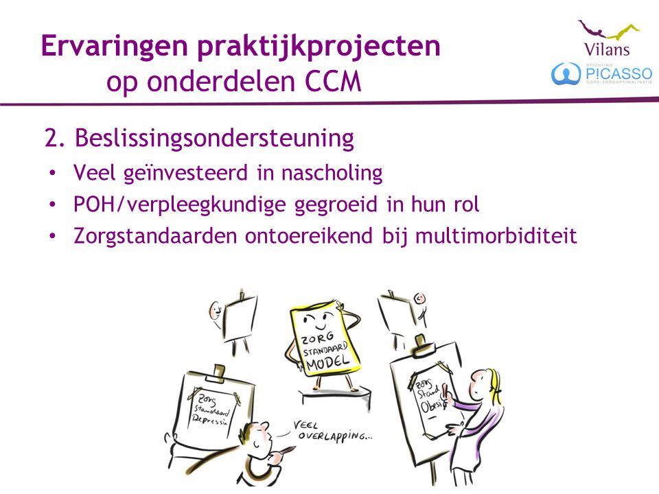 Ervaringen praktijkprojecten op onderdelen CCM 2. Beslissingsondersteuning Veel geïnvesteerd in nascholing POH/verpleegkundige gegroeid in hun rol Zor