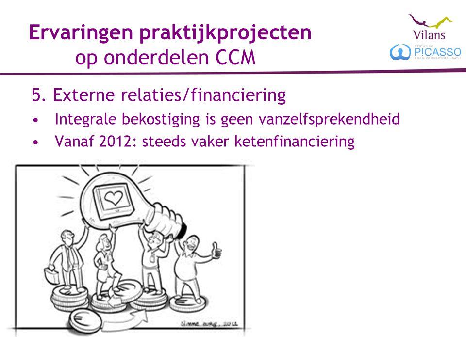 Ervaringen praktijkprojecten op onderdelen CCM 5. Externe relaties/financiering Integrale bekostiging is geen vanzelfsprekendheid Vanaf 2012: steeds v