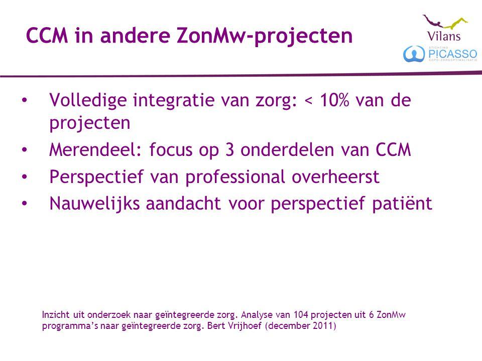 CCM in andere ZonMw-projecten Volledige integratie van zorg: < 10% van de projecten Merendeel: focus op 3 onderdelen van CCM Perspectief van professional overheerst Nauwelijks aandacht voor perspectief patiënt Inzicht uit onderzoek naar geïntegreerde zorg.