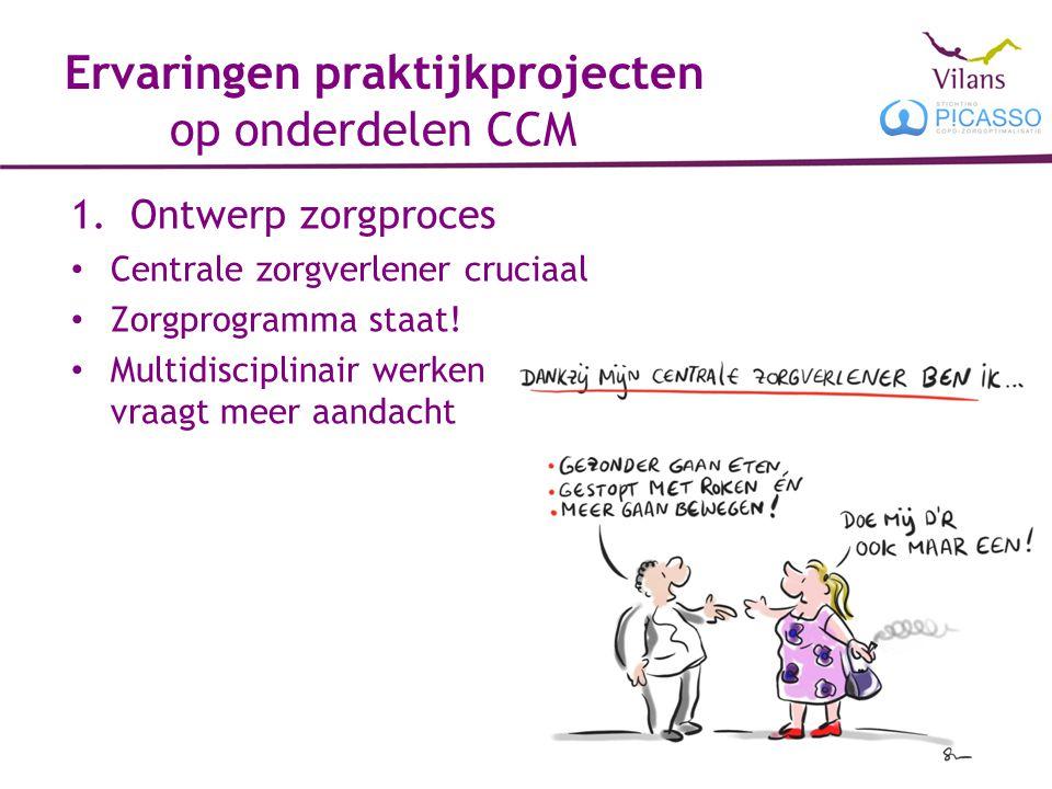 Ervaringen praktijkprojecten op onderdelen CCM 1.Ontwerp zorgproces Centrale zorgverlener cruciaal Zorgprogramma staat! Multidisciplinair werken vraag