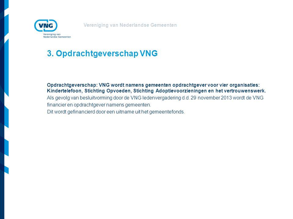 Vereniging van Nederlandse Gemeenten 3. Opdrachtgeverschap VNG Opdrachtgeverschap: VNG wordt namens gemeenten opdrachtgever voor vier organisaties: Ki