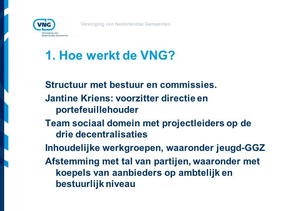 Vereniging van Nederlandse Gemeenten 1. Hoe werkt de VNG? Structuur met bestuur en commissies. Jantine Kriens: voorzitter directie en portefeuillehoud