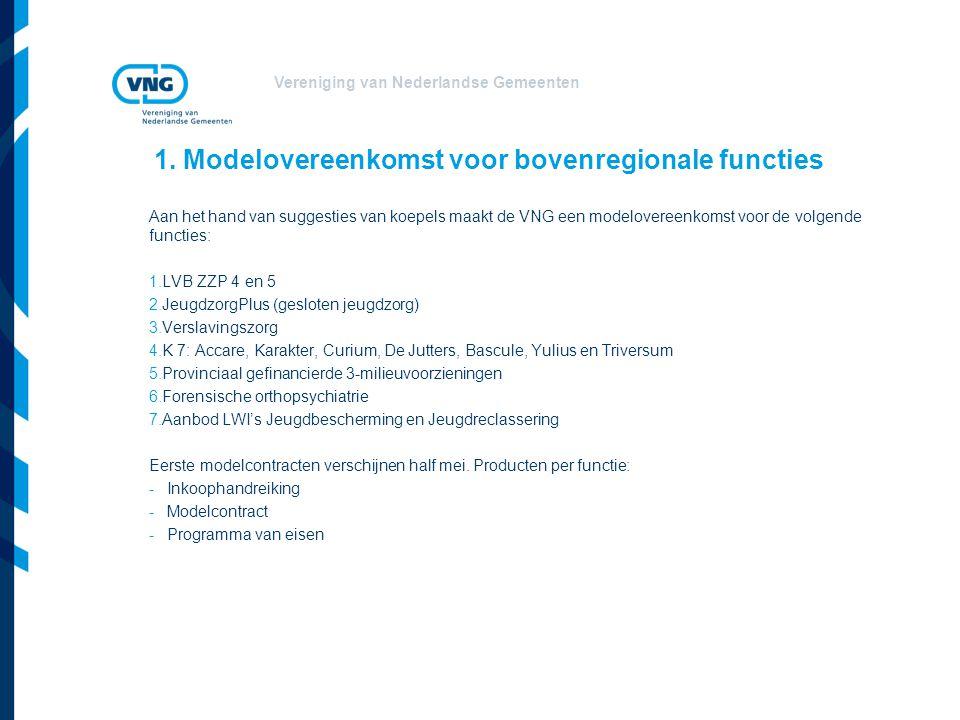 Vereniging van Nederlandse Gemeenten 1. Modelovereenkomst voor bovenregionale functies Aan het hand van suggesties van koepels maakt de VNG een modelo