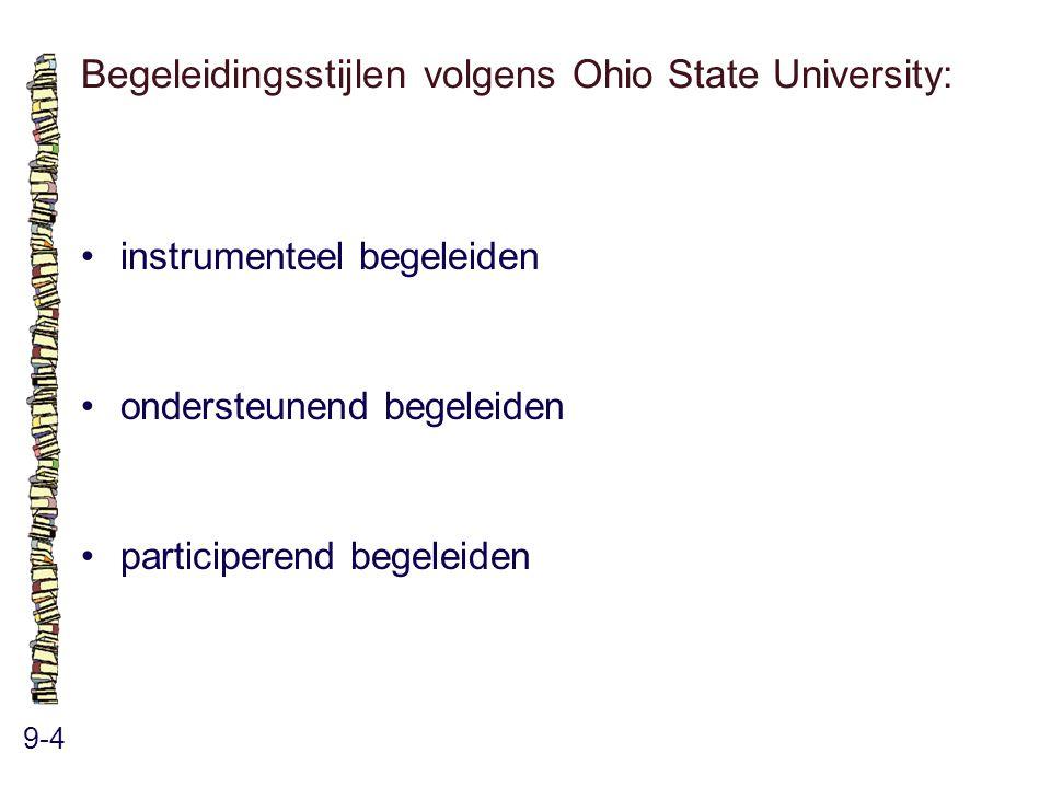 Begeleidingsstijlen volgens Ohio State University: 9-4 instrumenteel begeleiden ondersteunend begeleiden participerend begeleiden