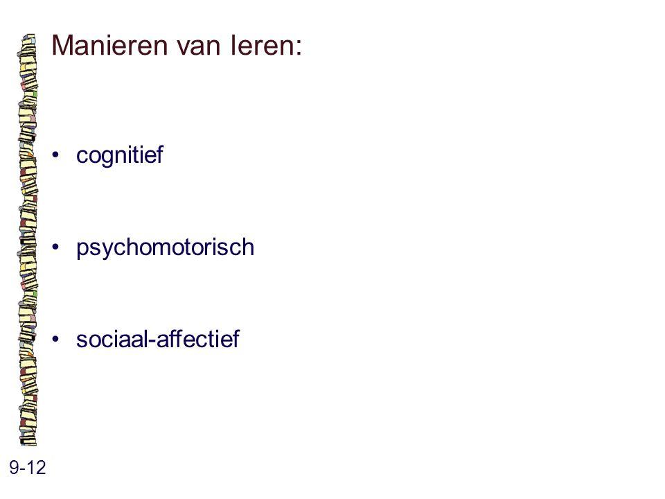Manieren van leren: 9-12 cognitief psychomotorisch sociaal-affectief