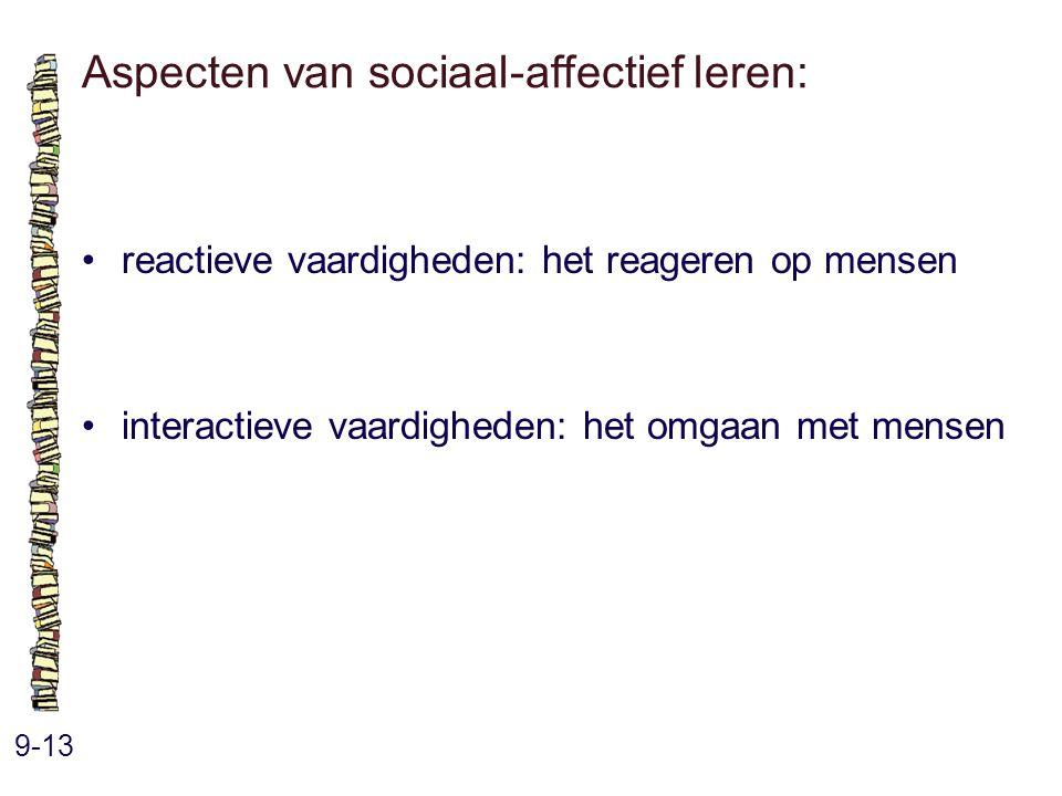Aspecten van sociaal-affectief leren: 9-13 reactieve vaardigheden: het reageren op mensen interactieve vaardigheden: het omgaan met mensen