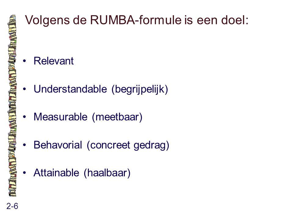Volgens de RUMBA-formule is een doel: 2-6 Relevant Understandable (begrijpelijk) Measurable (meetbaar) Behavorial (concreet gedrag) Attainable (haalba