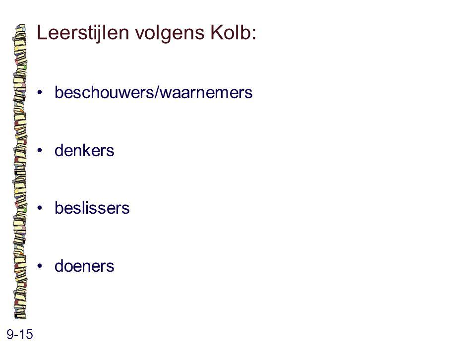 Leerstijlen volgens Kolb: 9-15 beschouwers/waarnemers denkers beslissers doeners