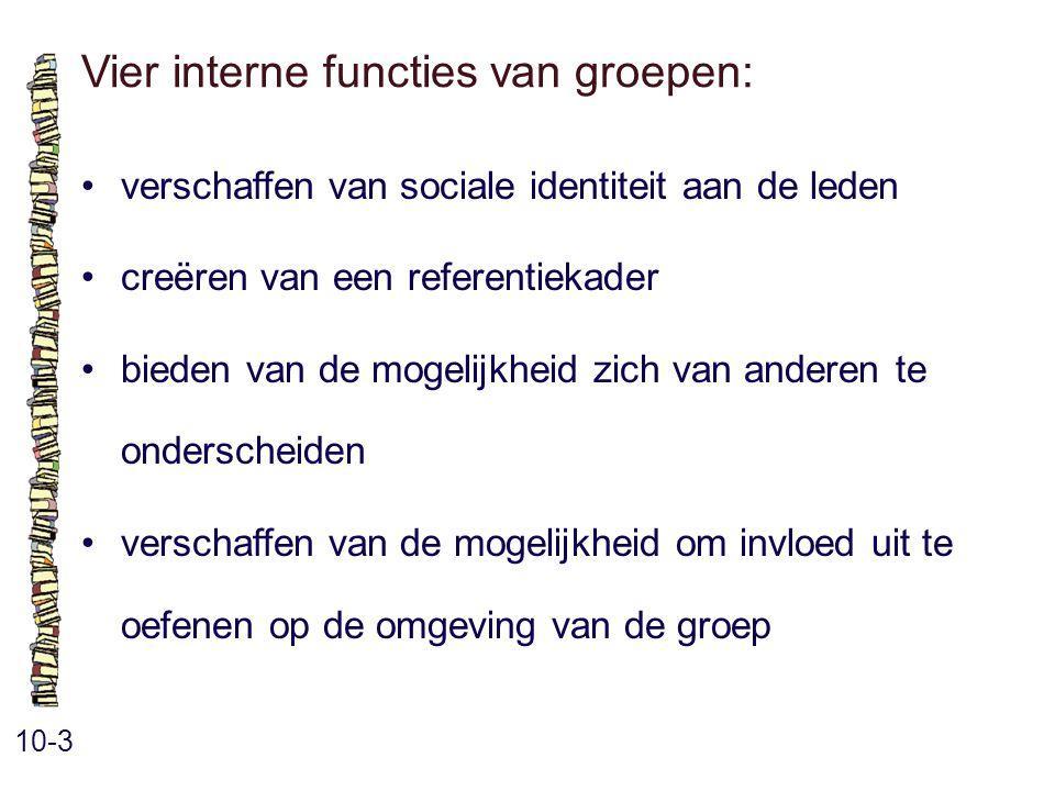 Vier interne functies van groepen: 10-3 verschaffen van sociale identiteit aan de leden creëren van een referentiekader bieden van de mogelijkheid zich van anderen te onderscheiden verschaffen van de mogelijkheid om invloed uit te oefenen op de omgeving van de groep