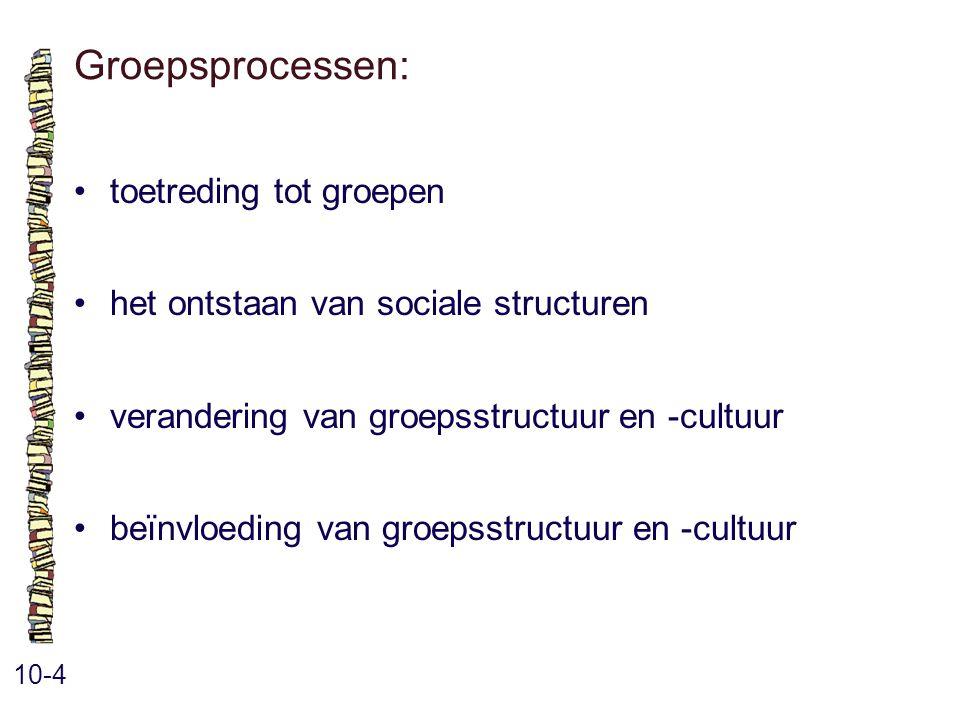 Groepsprocessen: 10-4 toetreding tot groepen het ontstaan van sociale structuren verandering van groepsstructuur en -cultuur beïnvloeding van groepsst