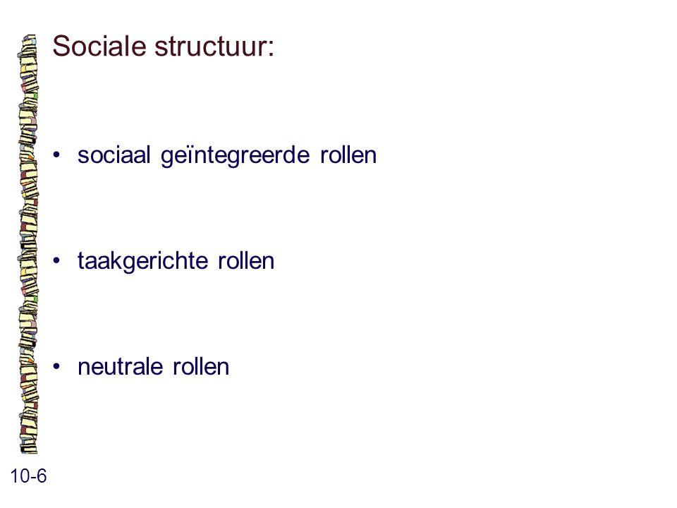 Sociale structuur: 10-6 sociaal geïntegreerde rollen taakgerichte rollen neutrale rollen