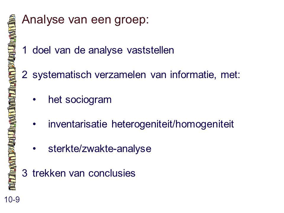 Analyse van een groep: 10-9 1doel van de analyse vaststellen 2systematisch verzamelen van informatie, met: het sociogram inventarisatie heterogeniteit/homogeniteit sterkte/zwakte-analyse 3trekken van conclusies