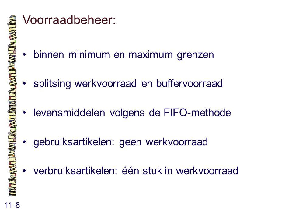Voorraadbeheer: 11-8 binnen minimum en maximum grenzen splitsing werkvoorraad en buffervoorraad levensmiddelen volgens de FIFO-methode gebruiksartikelen: geen werkvoorraad verbruiksartikelen: één stuk in werkvoorraad