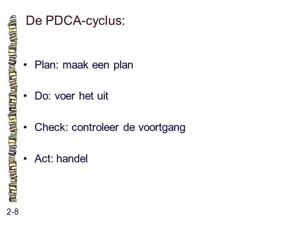 De PDCA-cyclus: 2-8 Plan: maak een plan Do: voer het uit Check: controleer de voortgang Act: handel