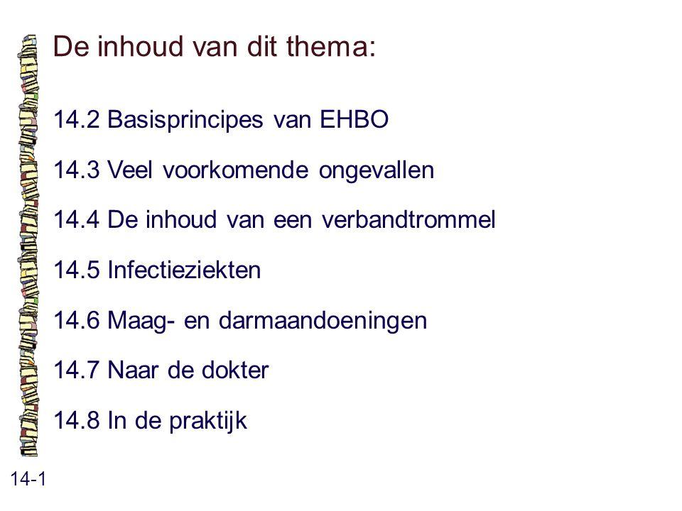 De inhoud van dit thema: 14-1 14.2 Basisprincipes van EHBO 14.3 Veel voorkomende ongevallen 14.4 De inhoud van een verbandtrommel 14.5 Infectieziekten 14.6 Maag- en darmaandoeningen 14.7 Naar de dokter 14.8 In de praktijk