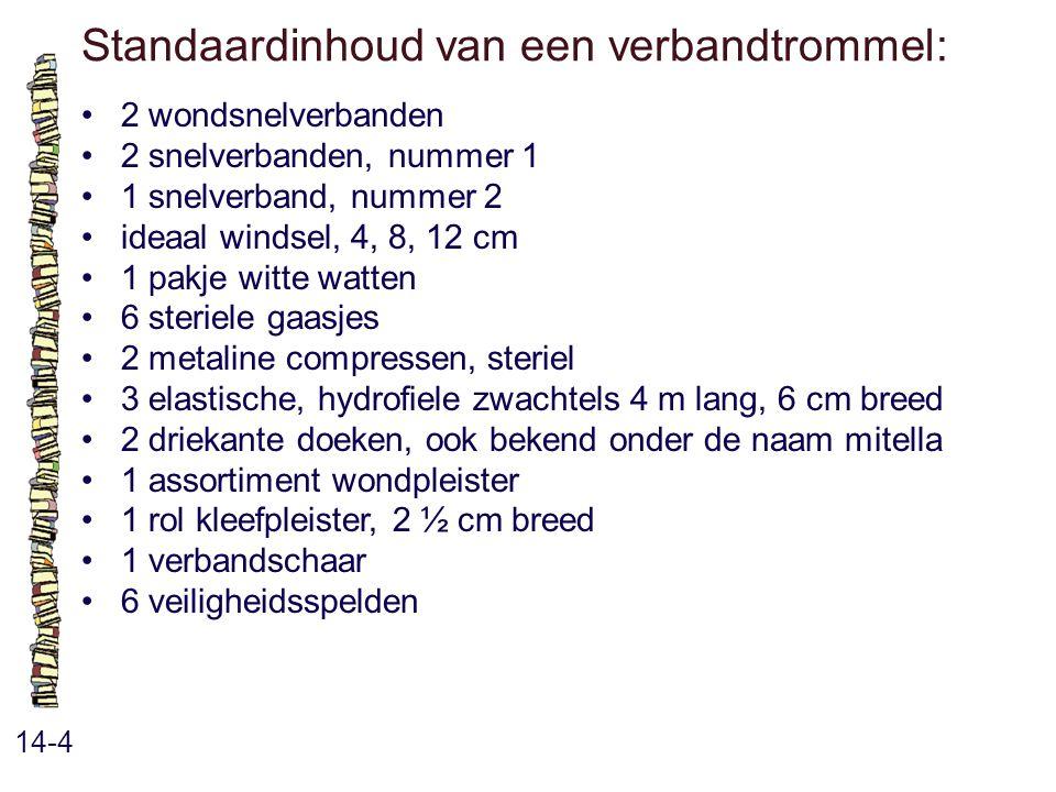 Standaardinhoud van een verbandtrommel: 14-4 2 wondsnelverbanden 2 snelverbanden, nummer 1 1 snelverband, nummer 2 ideaal windsel, 4, 8, 12 cm 1 pakje