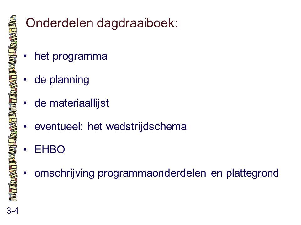 Onderdelen dagdraaiboek: 3-4 het programma de planning de materiaallijst eventueel: het wedstrijdschema EHBO omschrijving programmaonderdelen en plattegrond