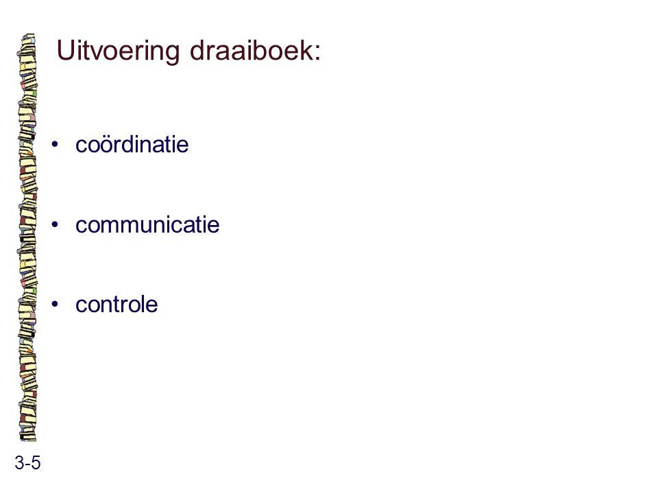 Uitvoering draaiboek: 3-5 coördinatie communicatie controle