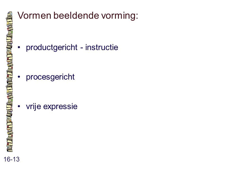 Vormen beeldende vorming: 16-13 productgericht - instructie procesgericht vrije expressie
