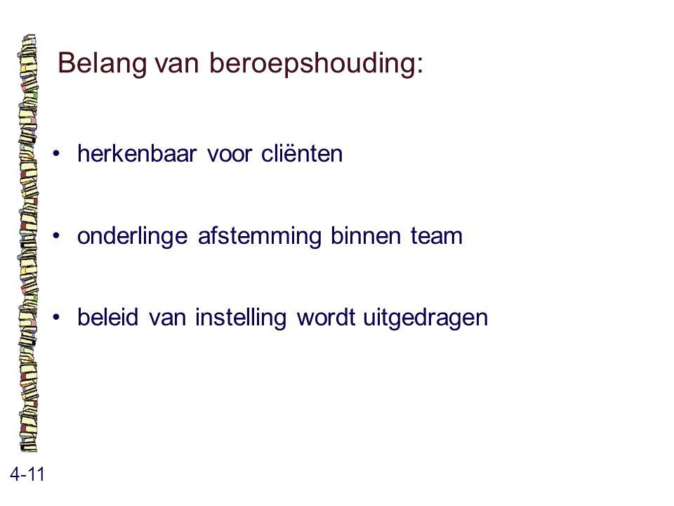 Belang van beroepshouding: 4-11 herkenbaar voor cliënten onderlinge afstemming binnen team beleid van instelling wordt uitgedragen