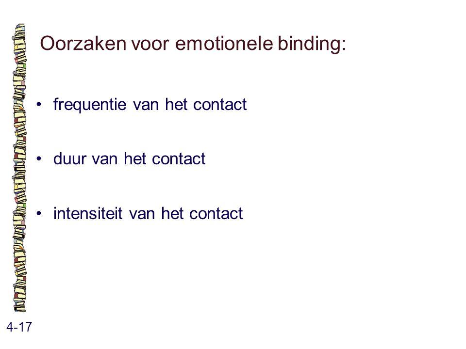 Oorzaken voor emotionele binding: 4-17 frequentie van het contact duur van het contact intensiteit van het contact