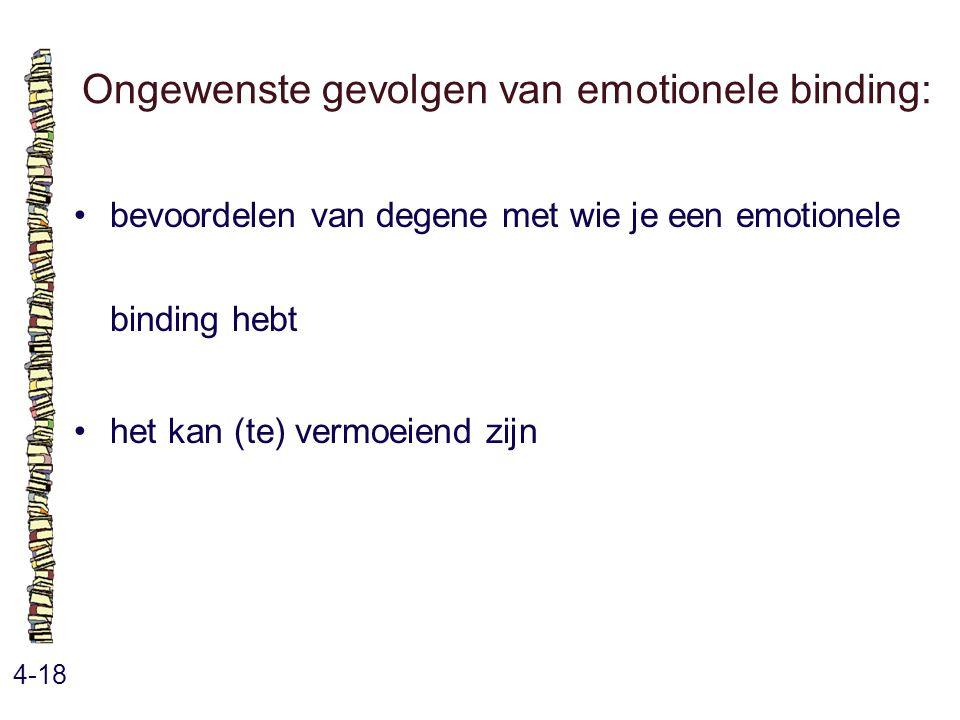 Ongewenste gevolgen van emotionele binding: 4-18 bevoordelen van degene met wie je een emotionele binding hebt het kan (te) vermoeiend zijn