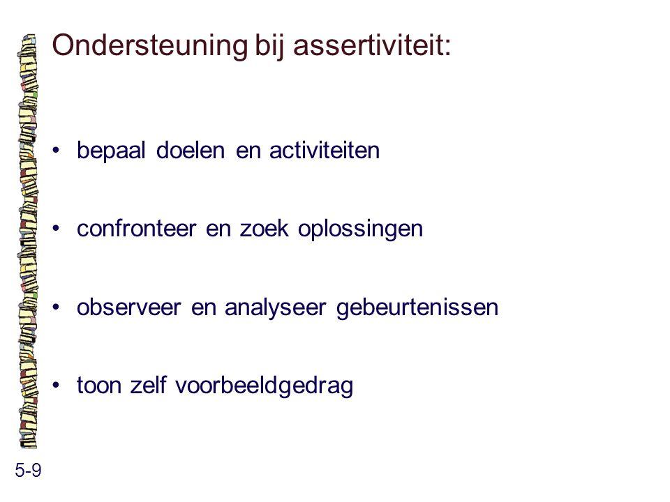 Ondersteuning bij assertiviteit: 5-9 bepaal doelen en activiteiten confronteer en zoek oplossingen observeer en analyseer gebeurtenissen toon zelf voo