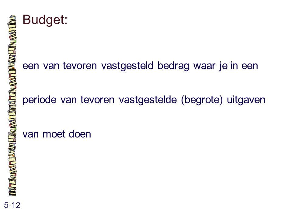 Budget: 5-12 een van tevoren vastgesteld bedrag waar je in een periode van tevoren vastgestelde (begrote) uitgaven van moet doen