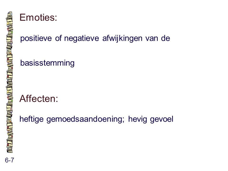 Emoties: 6-7 positieve of negatieve afwijkingen van de basisstemming Affecten: heftige gemoedsaandoening; hevig gevoel