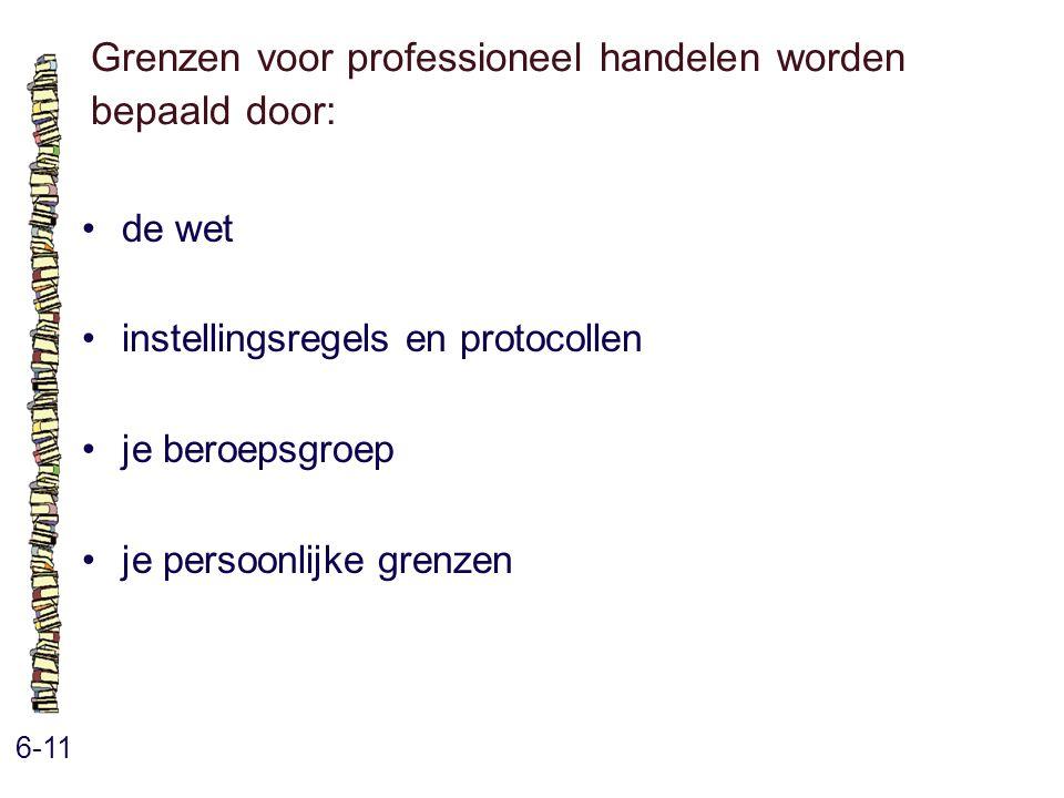 Grenzen voor professioneel handelen worden bepaald door: 6-11 de wet instellingsregels en protocollen je beroepsgroep je persoonlijke grenzen