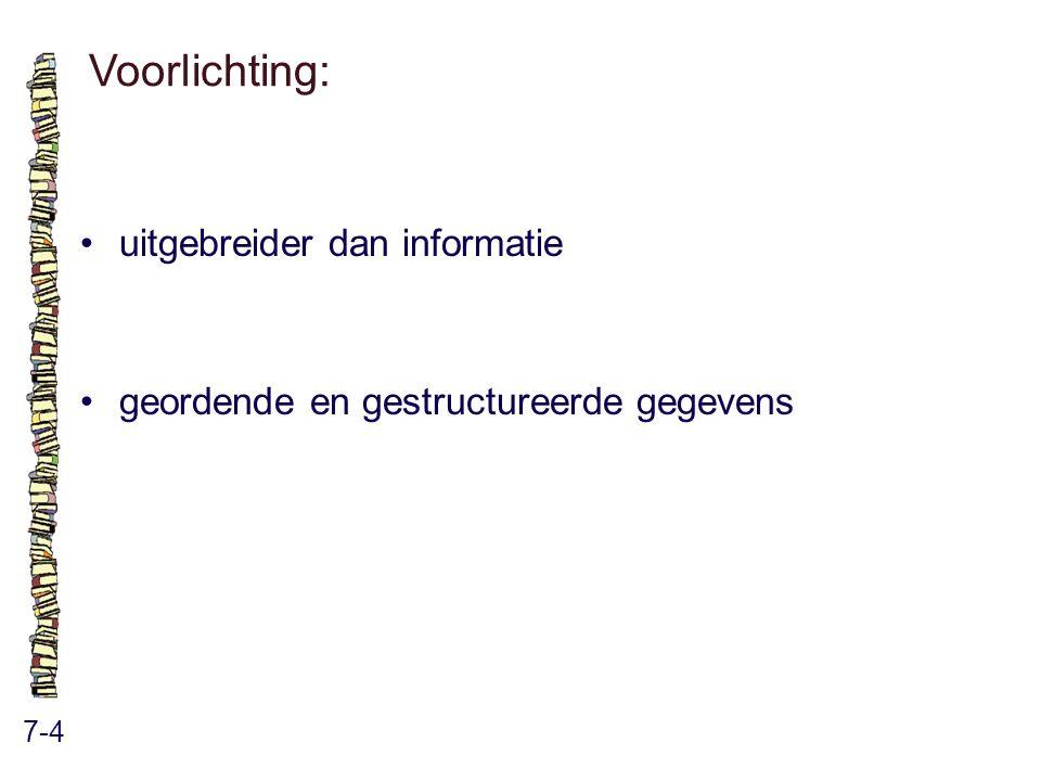 Voorlichting: 7-4 uitgebreider dan informatie geordende en gestructureerde gegevens