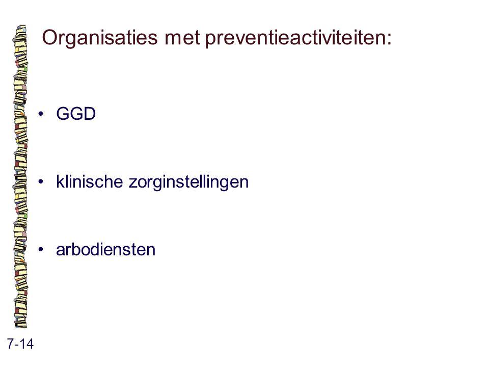 Organisaties met preventieactiviteiten: 7-14 GGD klinische zorginstellingen arbodiensten