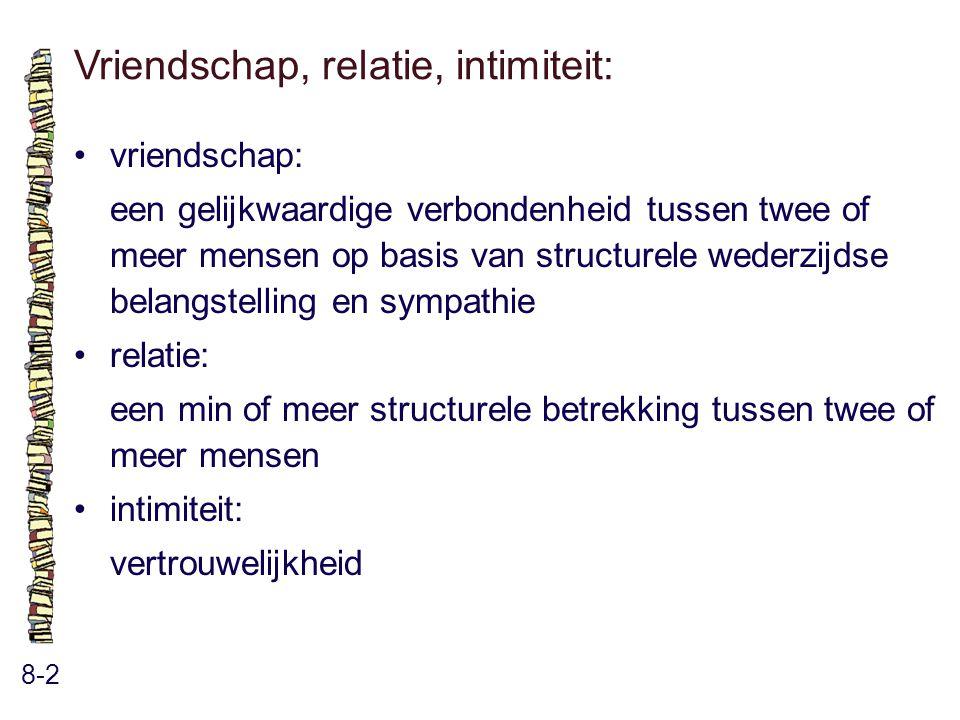 Vriendschap, relatie, intimiteit: 8-2 vriendschap: een gelijkwaardige verbondenheid tussen twee of meer mensen op basis van structurele wederzijdse belangstelling en sympathie relatie: een min of meer structurele betrekking tussen twee of meer mensen intimiteit: vertrouwelijkheid