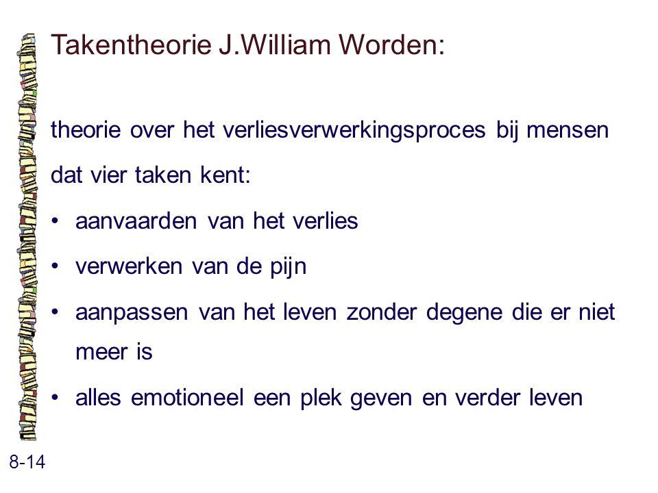 Takentheorie J.William Worden: 8-14 theorie over het verliesverwerkingsproces bij mensen dat vier taken kent: aanvaarden van het verlies verwerken van de pijn aanpassen van het leven zonder degene die er niet meer is alles emotioneel een plek geven en verder leven