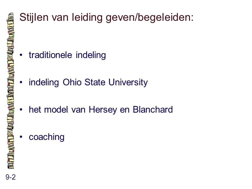 Stijlen van leiding geven/begeleiden: 9-2 traditionele indeling indeling Ohio State University het model van Hersey en Blanchard coaching