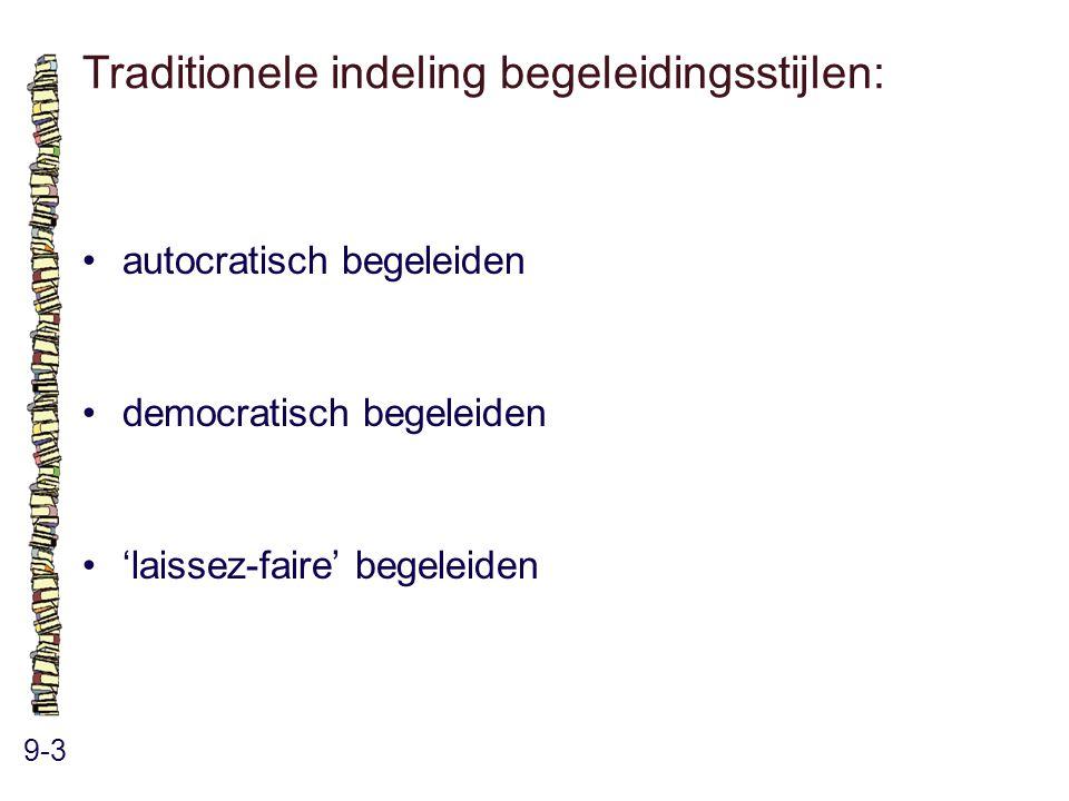 Traditionele indeling begeleidingsstijlen: 9-3 autocratisch begeleiden democratisch begeleiden 'laissez-faire' begeleiden