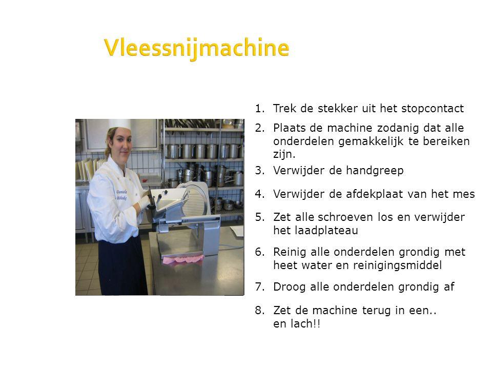 1. Trek de stekker uit het stopcontact Vleessnijmachine 2. Plaats de machine zodanig dat alle onderdelen gemakkelijk te bereiken zijn. 3. Verwijder de