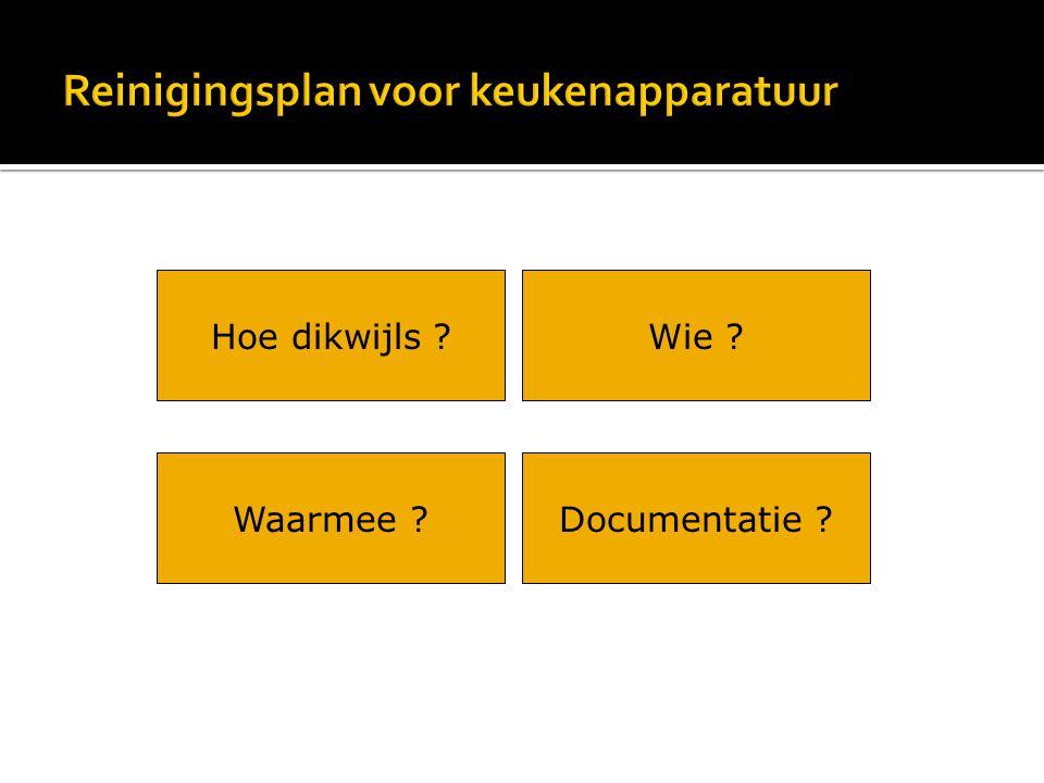 Wie ? Documentatie ? Hoe dikwijls ? Waarmee ?