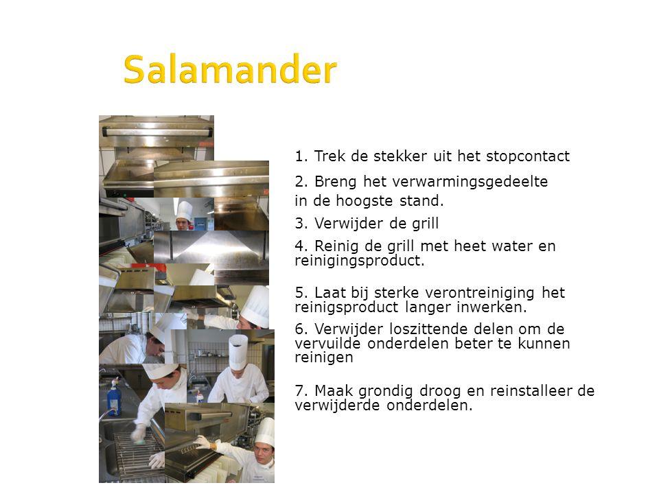 Salamander 1. Trek de stekker uit het stopcontact 2. Breng het verwarmingsgedeelte in de hoogste stand. 3. Verwijder de grill 4. Reinig de grill met h