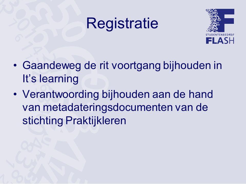 Registratie Gaandeweg de rit voortgang bijhouden in It's learning Verantwoording bijhouden aan de hand van metadateringsdocumenten van de stichting Praktijkleren