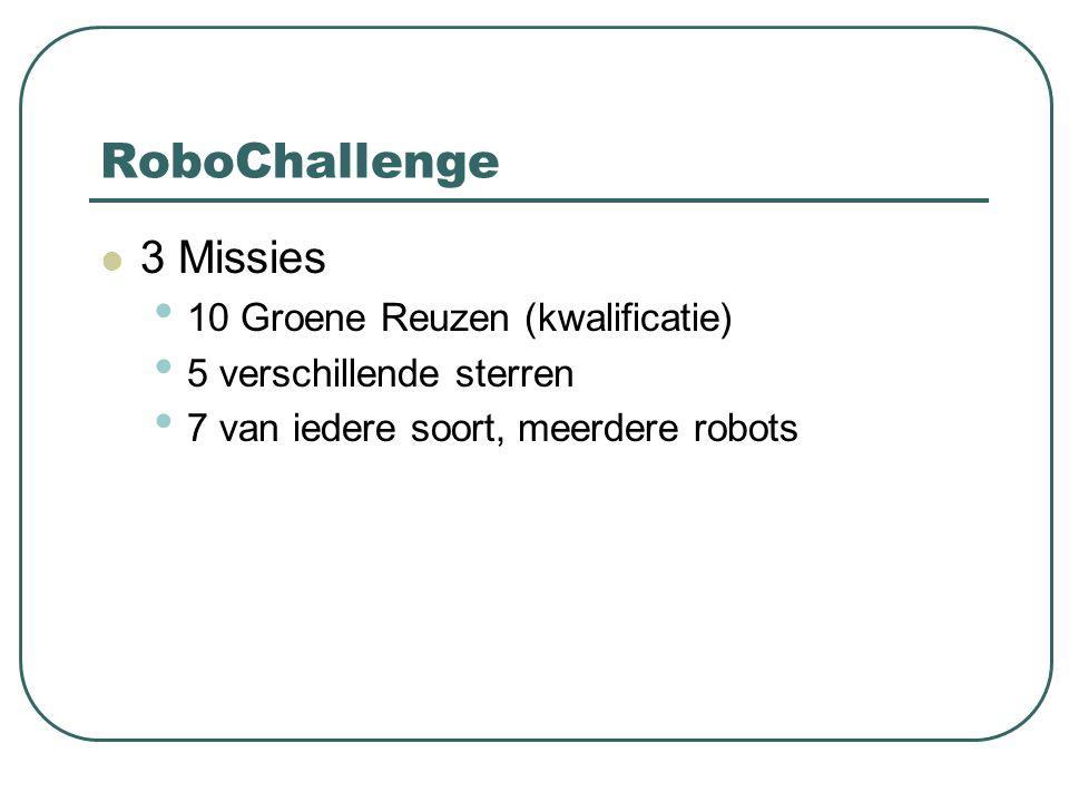 3 Missies 10 Groene Reuzen (kwalificatie) 5 verschillende sterren 7 van iedere soort, meerdere robots