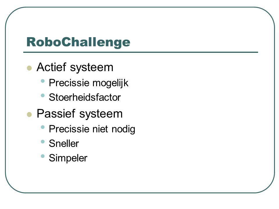 RoboChallenge Actief systeem Precissie mogelijk Stoerheidsfactor Passief systeem Precissie niet nodig Sneller Simpeler