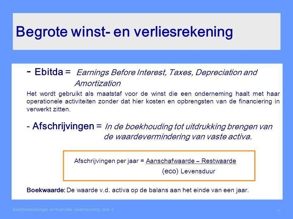 Begrote winst- en verliesrekening - Ebitda = Earnings Before Interest, Taxes, Depreciation and Amortization Het wordt gebruikt als maatstaf voor de wi